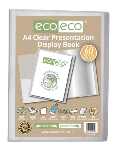A4 50% Recycled Clear 60 Pocket Presentation Display Book