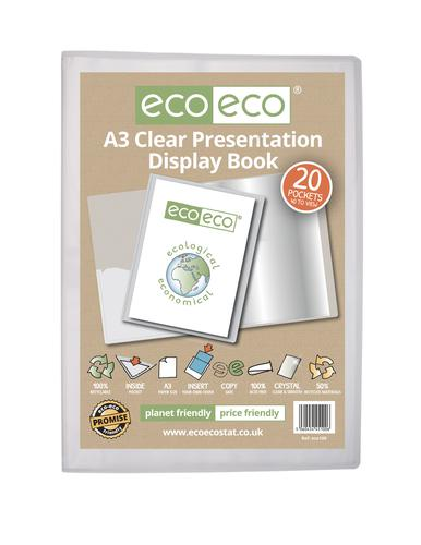 A3 50% Recycled Clear 20 Pocket Presentation Display Book