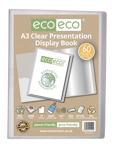 A3 50% Recycled Clear 60 Pocket Presentation Display Book