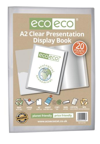 A2 50% Recycled Clear 20 Pocket Presentation Display Book