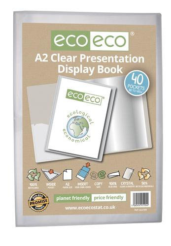 A2 50% Recycled Clear 40 Pocket Presentation Display Book