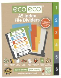 A5 50% Recycled Set 6 Index File Dividers