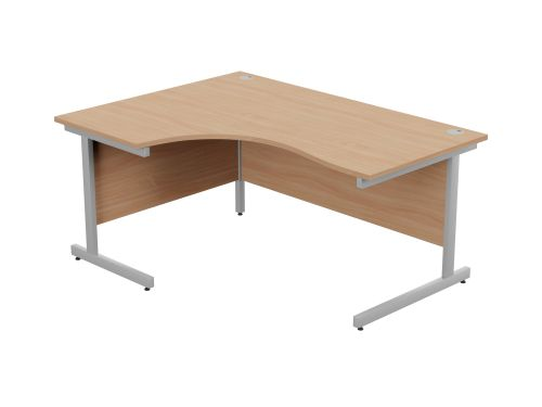 Ashford Metal Leg 1600/800 x 1200/600mm L/H Crescent Desk- Silver Leg / Beech Top