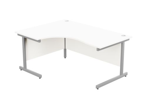 Ashford Metal Leg 1600/800 x 1200/600mm L/H Crescent Desk - Silver Leg / White Top