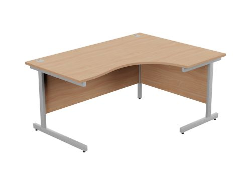 Ashford Metal Leg 1600/800 x 1200/600mm R/H Crescent Desk - Silver Leg / Beech Top