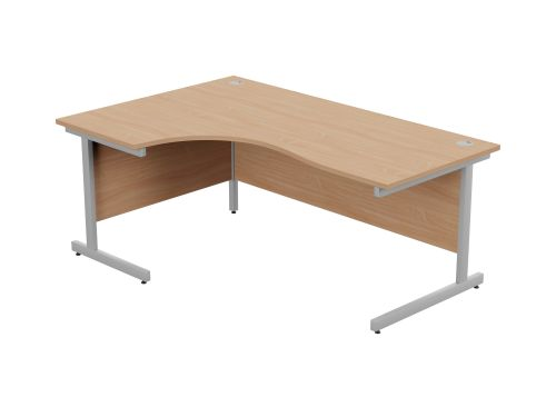 Ashford Metal Leg 1800/800 x 1200/600mm L/H Crescent Desk- Silver Leg / Beech Top