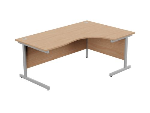Ashford Metal Leg 1800/800 x 1200/600mm R/H Crescent Desk- Silver Leg / Beech Top