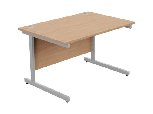 Ashford Metal Leg 1200mm x 800mm Straight Desk - Silver Leg / Beech Top