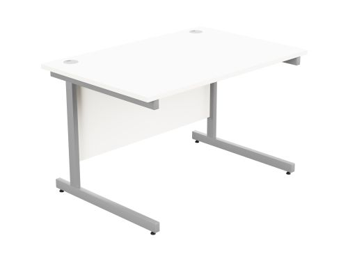 Ashford Metal Leg 1200mm x 800mm Straight Desk - Silver Leg / White Top