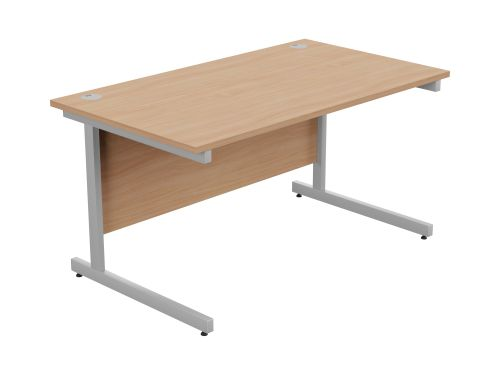 Ashford Metal Leg 1400mm x 800mm Straight Desk - Silver Leg / Beech Top