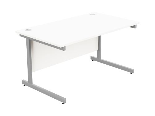 Ashford Metal Leg 1400mm x 800mm Straight Desk - Silver Leg / White Top