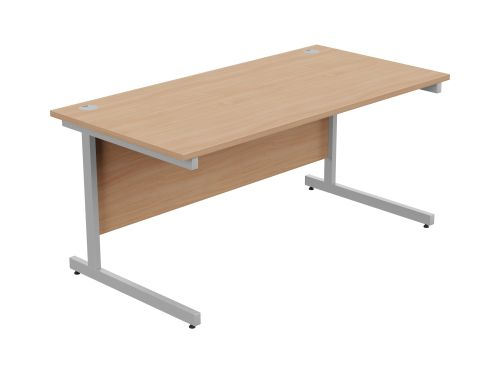 Ashford Metal Leg 1600mm x 800mm Straight Desk - Silver Leg / Beech Top
