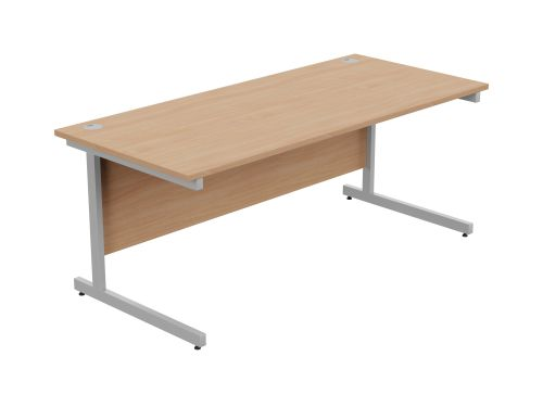 Ashford Metal Leg 1800mm x 800mm Straight Desk - Silver Leg / Beech Top