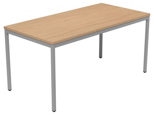 Kontrax Table Fixed Frame 1500 x 750 - Beech Top/Silver Frame