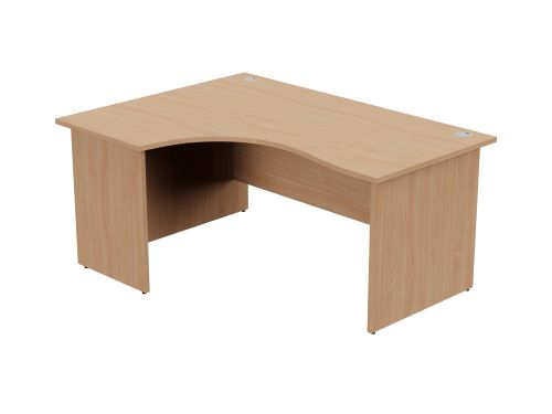 Ashford Panel Leg 1600/800 x 1200/600mm L/H Crescent Desk- Beech