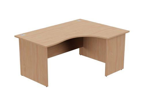 Ashford Panel Leg 1600/800 x 1200/600mm R/H Crescent Desk- Beech