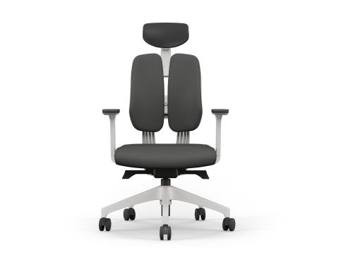 Duorest Ergonomic Chair, Adj. Arms - Grey Fabric Seat, Black Vinyl Headrest, White Base