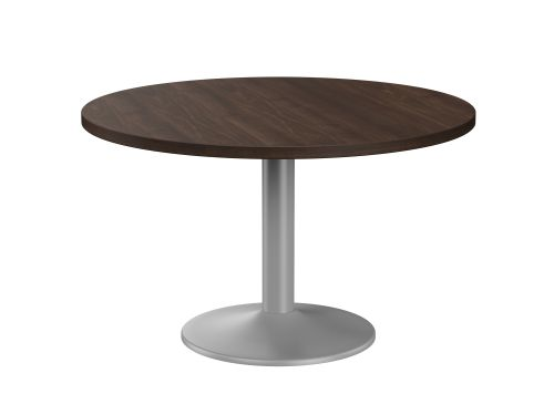 Fermo Round 1200mm Dia Table Dark Walnut with Pod Base Silver