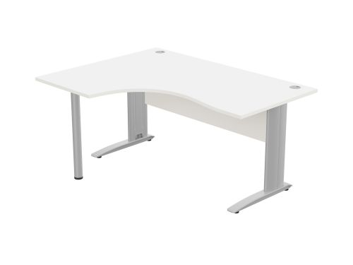 Komo Crescent Desk 1600 x 1200mm L/Hand - Silver Leg / White Top