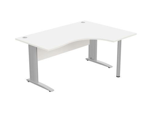 Komo Crescent Desk 1600 x 1200mm R/Hand - Silver Leg / White Top