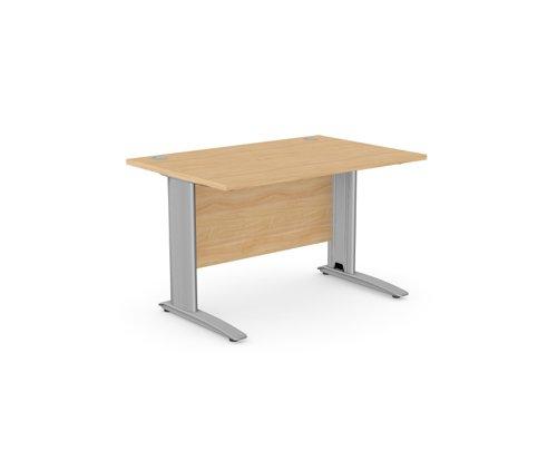 Komo Straight Desk 1200 x 800mm - Silver Leg / Beech Top