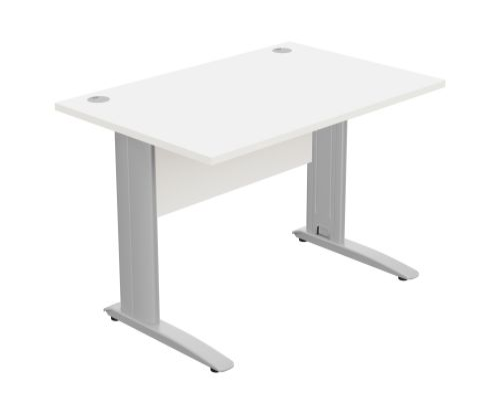 Komo Straight Desk 1200 x 800mm - Silver Leg / White Top