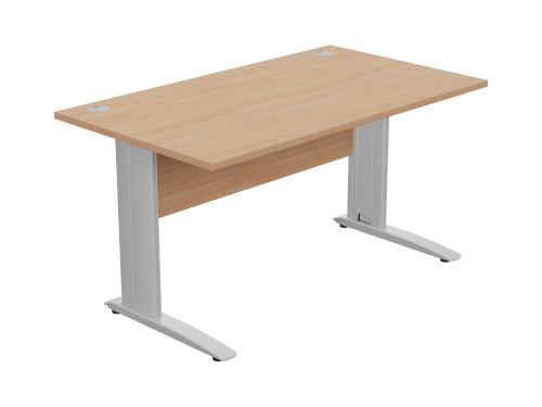 Komo Straight Desk 1400 x 800mm - Silver Leg / Beech Top