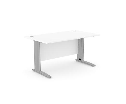 Komo Straight Desk 1400 x 800mm - Silver Leg / White Top