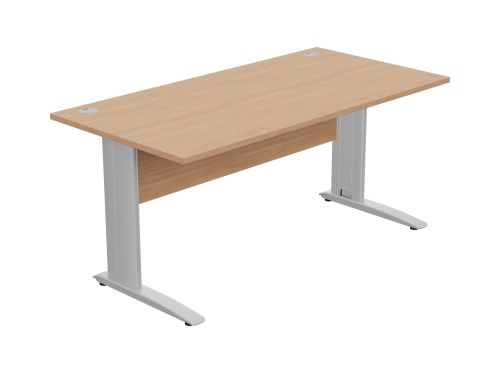 Komo Straight Desk 1600 x 800mm - Silver Leg / Beech Top