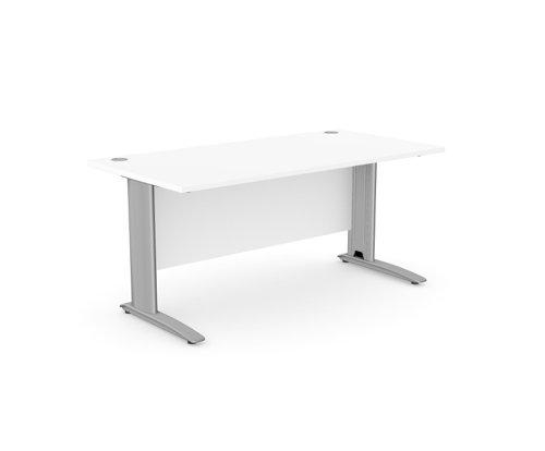 Komo Straight Desk 1600 x 800mm - Silver Leg / White Top