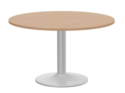 Kito Meeting Table 1200mm Round Top Silver Cylinder Base - Beech