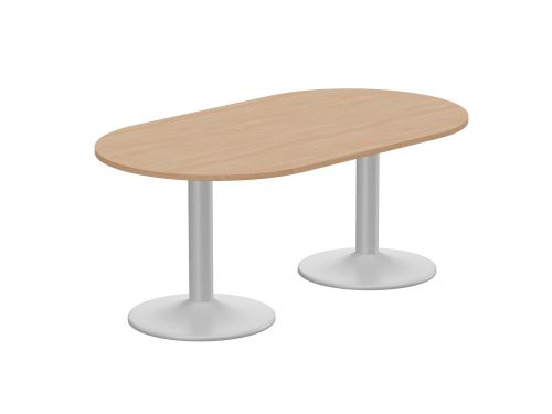 Kito Meeting Table Oval Silver Cylinder Base 1800w x 1000d - Beech