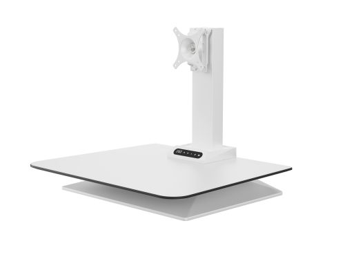 Leap Electrical Height Adjustable Desk Convertor Single Monitor - White