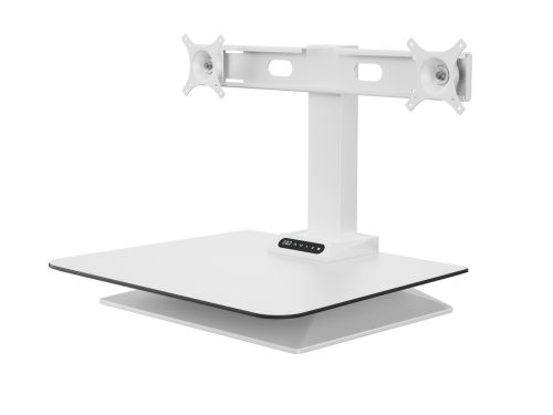 Leap Electrical Height Adjustable Desk Convertor Double Monitor - White