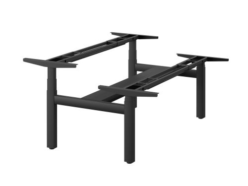Leap Double Bench 3 Stage Electric Adjust Frame with 2 Handsets and Telescopic Cable Tray - Black