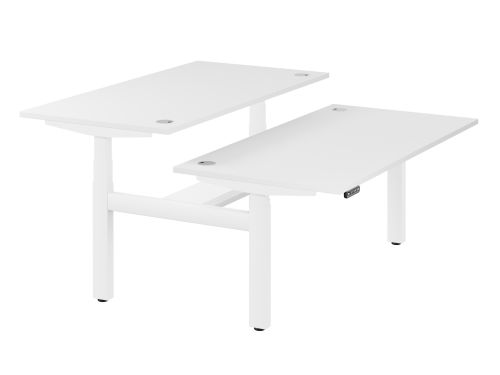 Leap Bench Desk Top With Alu Portals, 1600 x 800mm - White / White Frame