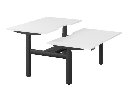 Leap Bench Desk Top With Scallop, 1400 x 800mm - White / Black Frame
