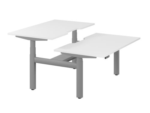 Leap Bench Desk Top With Scallop, 1400 x 800mm - White / Silver Frame