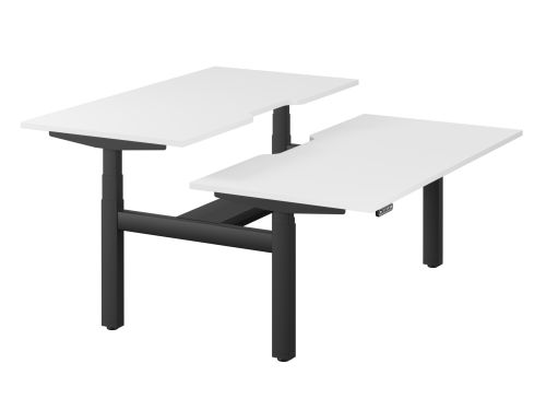 Leap Bench Desk Top With Scallop, 1600 x 800mm - White / Black Frame