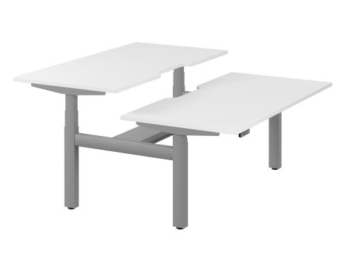 Leap Bench Desk Top With Scallop, 1600 x 800mm - White / Silver Frame