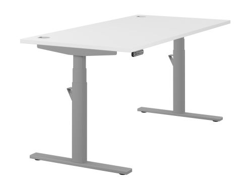 Leap Single Desk Top With Alu Portals, 1600 x 800mm - White / Silver Frame