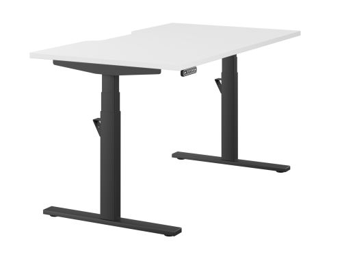 Leap Single Desk Top With Scallop, 1400 x 800mm - White / Black Frame