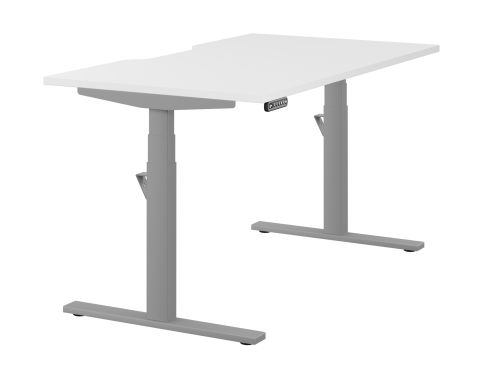 Leap Single Desk Top With Scallop, 1400 x 800mm - White / Silver Frame
