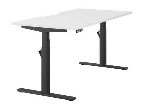 Leap Single Desk Top With Scallop, 1600 x 800mm - White / Black Frame