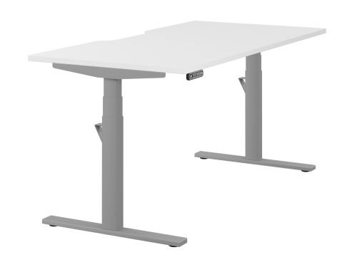 Leap Single Desk Top With Scallop, 1600 x 800mm - White / Silver Frame