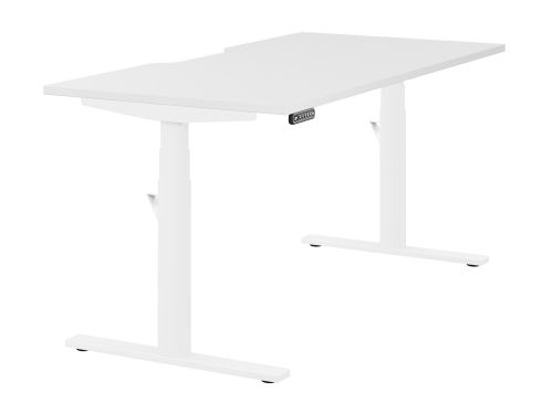 Leap Single Desk Top With Scallop, 1600 x 800mm - White / White Frame