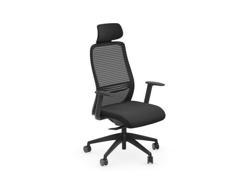 NV Chair Adj. Arms, Mesh Back, Black Base, Black Fabric Seat Plus Headrest