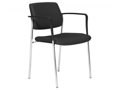 O.CUBE Series 4 Leg Stacking Chair C/Frame Arms - Lotus Black L001