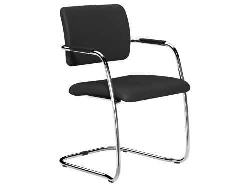 O.Q Series Mid Back Stacking Chair Chrome - Lotus Black L001