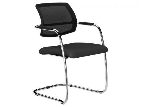 O.Q Series Mid TKMS1 Black Mesh Back Stacking Chair Chrome - Lotus Black L001